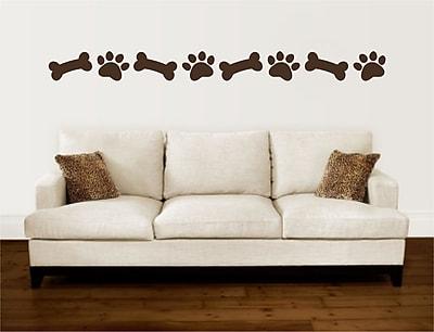 Enchantingly Elegant Paw Prints Dog Bones Border Vinyl Wall Decal; 5'' H x 114'' W