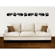 Enchantingly Elegant Cat Paw Prints Fish Bones Border Vinyl Wall Decal; 5'' H x 114'' W
