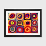 Latitude Run 'Squares w/ Concentric Circles' by Wassily Kandinsky Framed Graphic Art