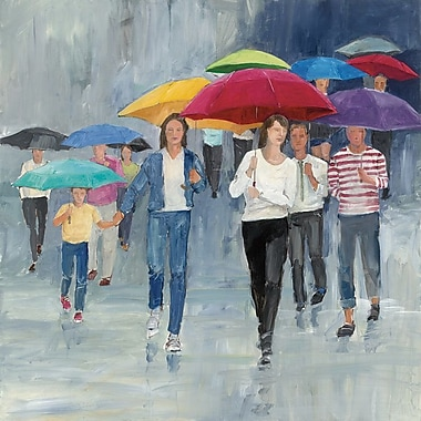 Latitude Run Just Walkin' In The Rain Painting Print on Wrapped Canvas; 12'' H x 12'' W x 1.5'' D