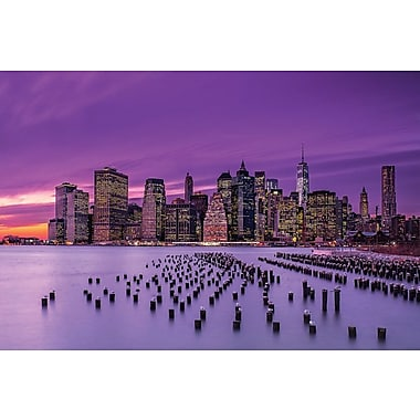 Latitude Run New York Violet Sunset Photographic Print on Wrapped Canvas; 18'' H x 26'' W x 0.75'' D