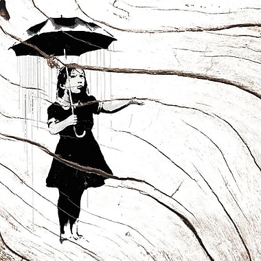 Latitude Run Nola Girl w/ Umbrella, Raining Silver Graphic Art on Wrapped Canvas