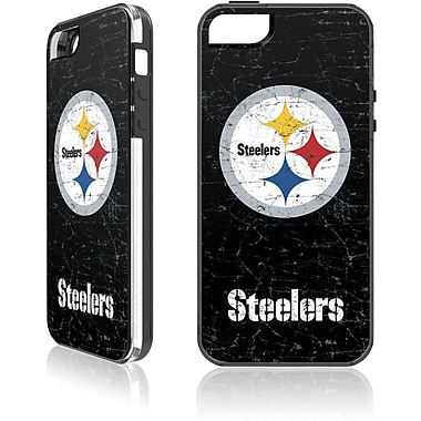 Skin-It Pittsburgh Steelers Cell Phone Fitted Case for Apple iPhone SE, Black (SI-LN-I5-NFL-PS)