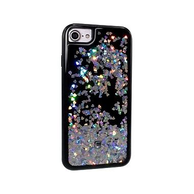 Caseco - Étui ajusté Glitter pour téléphone cellulaire Apple iPhone 6S/7, coeurs sur noir (WXLG-iP7-HTB)