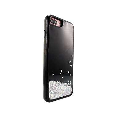 Caseco Glitter Cell Phone Fitted Case for Apple iPhone 6S/7 Plus, Hearts on Black (WXLG-iP7P-HTB)