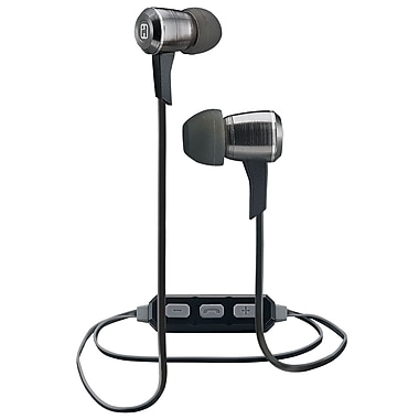 iHome Wireless Bluetooth Metal Earbuds with Mic+ Remote, Gunmetal (iB29GC)