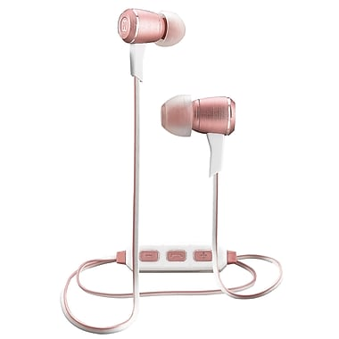 iHome Wireless Bluetooth Metal Earbuds with Mic+ Remote, Rose/Gold (iB29RGDC)