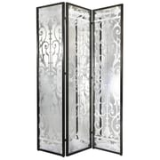 Latitude Run Aline 78'' x 54'' Decorative Screen Glass/Iron 3 Panel Room Divider