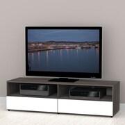 Latitude Run Gena 60'' TV Stand; White and Ebony