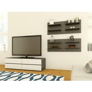 Latitude Run Gena 60'' TV Stand; White and Ebony with Flip Doors