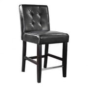Latitude Run Celia  25? Bar Stool; Black Bonded Leather