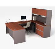Latitude Run Karla U-Shape Executive Desk; Bordeaux & Slate