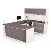 Latitude Run Karla U-Shape Executive Desk; Slate & Sandstone