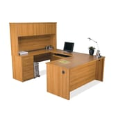 Latitude Run Karyn U-Shape Executive Desk; Cappuccino Cherry