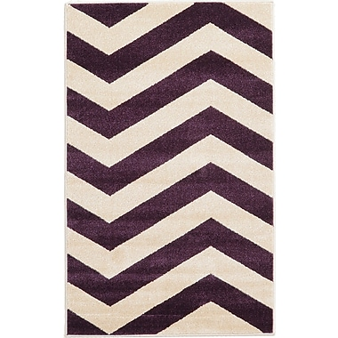 Latitude Run Arlott Purple/Cream Area Rug; 3'3'' x 5'3''