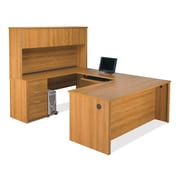 Latitude Run Witchel U-Shape Computer Desk w/ 2 Drawer; Cappuccino Cherry