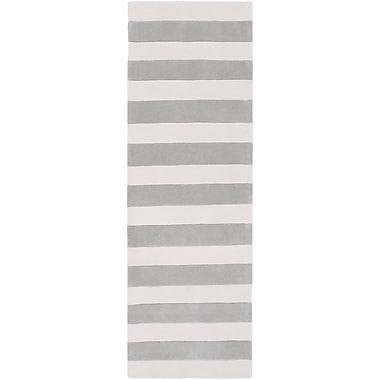 Latitude Run Millington Hand-Tufted Ivory/Gray Area Rug; Runner 2'6'' x 8'