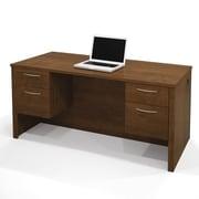 Latitude Run Karyn Computer Desk w/ Dual Half Pedestals; Tuscany Brown