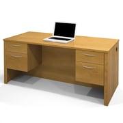 Latitude Run Karyn Computer Desk w/ Dual Half Pedestals; Cappuccino Cherry