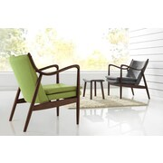 Latitude Run Rasmussen Mid-Century Upholstered Leisure Arm Chair; Green