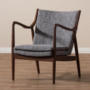 Latitude Run Rasmussen Mid-Century Upholstered Leisure Arm Chair; Grey