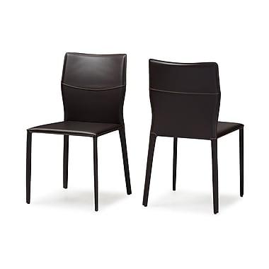 Latitude Run Aichele Side Chair (Set of 2); Dark Brown