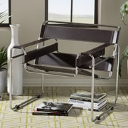 Latitude Run Somnus Bonded Leather Mid-Century Modern Accent Chair; Brown