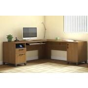 Latitude Run Achieve L-Shaped Computer Desk; Warm Oak