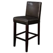 Latitude Run Aubrey 24'' Counter Stool (Set of 2); Dark Brown Faux Leather