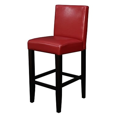 Latitude Run Aubrey 24'' Counter Stool (Set of 2); Red Faux Leather