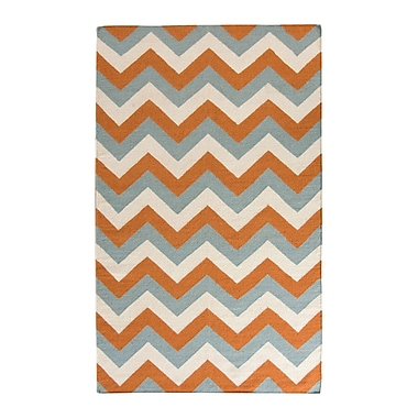 Latitude Run Lily Blue/Orange Area Rug; 4' x 6'