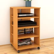 Latitude Run Brittany Mobile Storage Audio Rack; American Beech