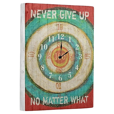 Artehouse LLC Never Give Up Wall Clock