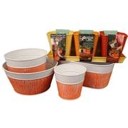 Robert Allen Home and Garden Prism Spring Garden 8-Piece Metal Pot Planter Set; Red