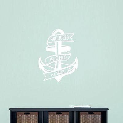 SweetumsWallDecals Anchored in Ohio Wall Decal; White