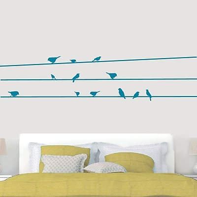 SweetumsWallDecals Birds on Lines Wall Decal; Teal