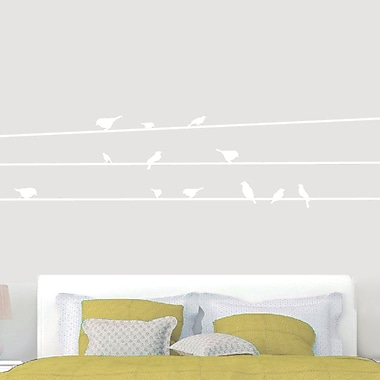 SweetumsWallDecals Birds on Lines Wall Decal; White