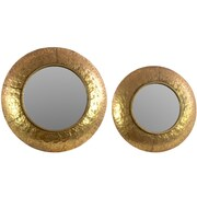 Urban Trends Metal Round Convex 2 Piece Wall Mirror Set; Gold