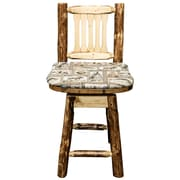 Loon Peak Tustin 24'' Wooden Swivel Bar Stool w/ Cushion