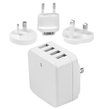 StarTech® 4-Port USB Wall Charger, International Travel, 34W/6.8A, White (USB4PACWH)