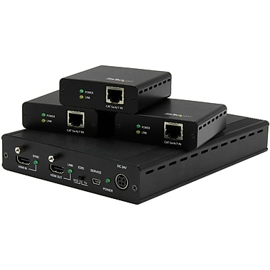 StarTech.com 3-Port HD BaseT Extender Kit with 3 Receivers, 1x3 HDMI over CAT5 Splitter, Up to 4K (ST124HDBT)