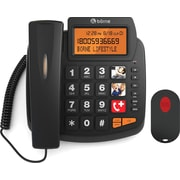 Borne - Téléphone d'urgence PH301BC-BK à grosses touches avec pendentif