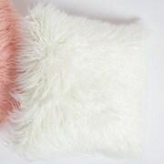 8 Oak Lane Mongolian Fur Throw Pillow; Ivory