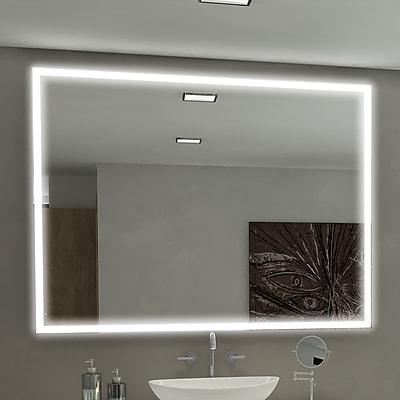 Orren Ellis Kristian Rectangle Gray LED Illuminated Bathroom / Vanity Wall Mirror