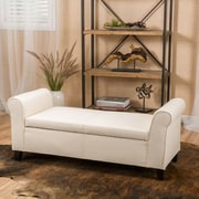 Alcott Hill Varian Upholstered Storage Bench; Beige