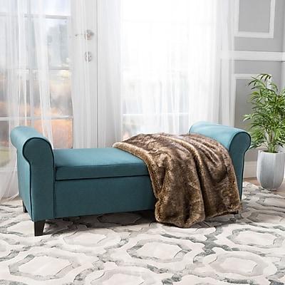 Alcott Hill Varian Upholstered Storage Bench; Dark