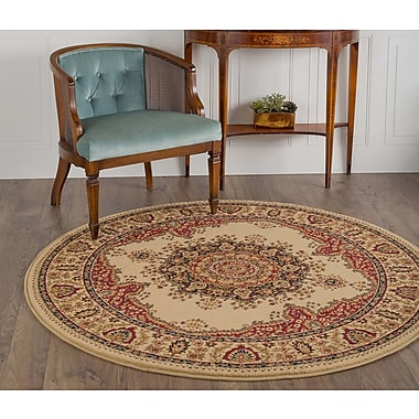 Astoria Grand Clarence Ivory/Red Area Rug; Round 7'10''