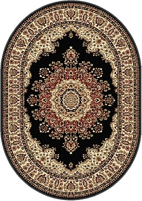 Astoria Grand Clarence Black Area Rug; Oval 5'3'' x 7'3''