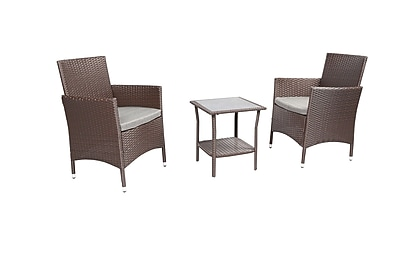 Baner Garden 3 Piece Dining Set w/ Cushions; Chocolate