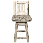Loon Peak Abordale 24'' Gray Seat Swivel Bar Stool w/ Cushion; Clear Lacquer Finish